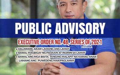 Public Advisory: Executive Order No. 48, Series of 2021